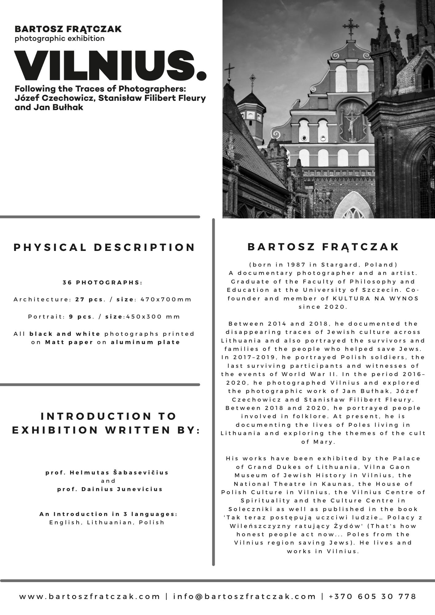 Vilnius. Following the Traces of the Photographers: Józef Czechowicz, Stanisław Filibert Fleury and Jan Bułhak 1